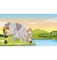 Kids and elephants by the river vector image