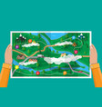 suburban paper nature map gps and navigation vector image