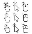 Click here mouse cursors set vector image vector image