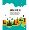 World landmarks travel background with place for vector image