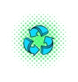 Circular arrows icon comics style vector image