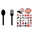 Fork and Spoon Flat Icon with Bonus vector image
