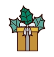 gift with gray bow and christmas leaves vector image