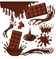 Milk chocolate bar and splashes vector image