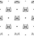 pattern with cute cats and hearts vector image