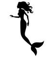 Silhouette of mermaid vector image