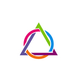 triangle round connect colorful logo vector image