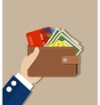 Hand holds a purse vector image