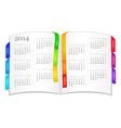 Calendar for 2014 in open book vector image vector image