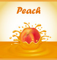 a splash of juice from a falling peach and drops vector image
