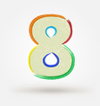 Alphabet letter number eight Watercolor paint vector image