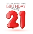 Invitation card for the celebration of 21 years vector image