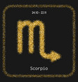 Scorpio golden sign of zodiac flat linear icons vector image