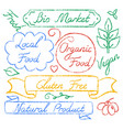set of eco food lettering vector image