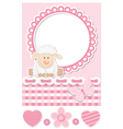 Happy baby sheep pink scrapbook set vector