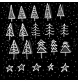 set of 15 different fir christmas trees hand vector image