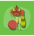 paper sticker on stylish background champagne bell vector image