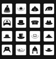 headdress hat icons set squares vector image