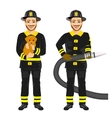 two happy firemen working holding hose and dog vector image