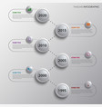 Time line info graphic with design bubbles vector image