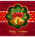 Christmas vintage background with bell and firtree vector image
