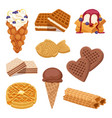 different wafer cookies on white background waffle vector image