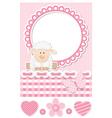 Happy baby sheep pink scrapbook set vector image
