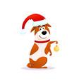 happy cartoon dog with christmas decoration vector image