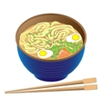 Japanese traditional food ramen soup in deep bowl vector image