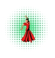 Red dress icon comics style vector image