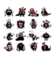 Halloween black monster silhouettes Bacteria and vector image