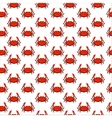 Flat red crab seamless pattern - vector image