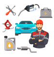 car service set worker near expensive automobile vector image