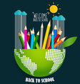 Welcome back to school with globe and Color vector image