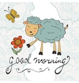 Good morning Cute card with smiling sheep vector image