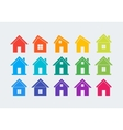 15 colored house icons vector image