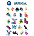 Set of web internet boxes with buttons and sample vector image