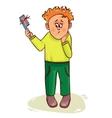 Little cartoon man with hair fall vector image vector image