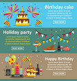 birthday party banner horizontal set flat style vector image