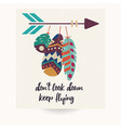 Postcard design with bohemian feathers vector image