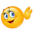 female emoticon waving hello vector image vector image