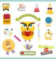School design elements Back to school flat design vector image