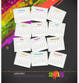 Calendar 2015 with grunge color blots vector image