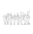 cheerful silhouette business people group sketch vector image