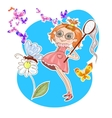 Cute little girl catching butterfly vector image