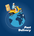 fast delivery banner boy riding yellow bike vector image