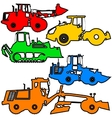 Set color silhouettes road construction vector image