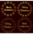 Merry Christmas stamps tags golden vector image vector image