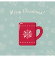 Red mug on winter backdrop vector image vector image