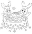 bunnies with an easter cake vector image vector image
